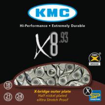 Lánc KMC X8 SILVER x 3/32 116 8 sebességes x 3/32 116