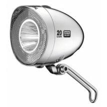 Lámpa XLC agydinamós első, Retro LED, króm, 20 LUX, kapcsoló CL-D03