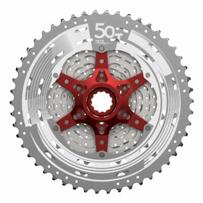Sunrace CSMX80 11 sebességes fogaskeréksor [ezüst-piros, 11-50]