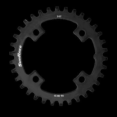 Sunrace CRMS Narrow Wide 4 furatos szimmetrikus lánctányér [fekete, 36]